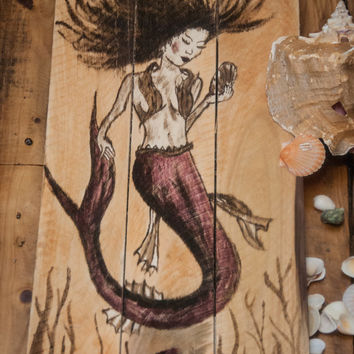 Mermaid Painting fantasy Pallet Wood Art Ocean Nautical Sailor Beach Mythical Home Decor Children's Room Ocean Themed Coastal