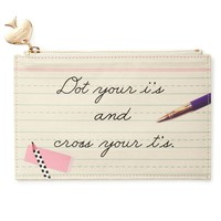 Pencil Pouch in Dot Your I's and Cross your T's by Kate Spade New York