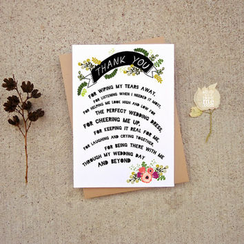 Thank you Bridesmaid Card. Modern Thank you. Floral Bridal Party. Wedding planner, sister, friend thank you. TC340