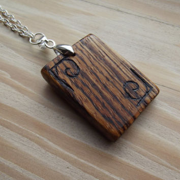 Wooden Pendant - Zebrano Tablet Pendant with Art-Deco Inspired Engraving