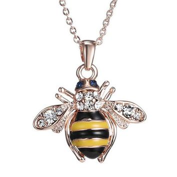 Honey Bee Necklace & Earrings with Austrian Elements Crystal