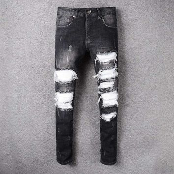 French Style 519Mens Distressed Embellished Ribbed Stretch Moto Pants Biker Jeans Slim Trousers Size 28 42