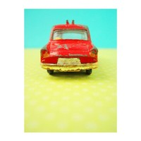 vintage red toy car print