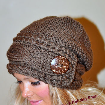 eefbc351f08 Slouchy Hat Slouch Beanie Cable Button Hat Hand Knit Winter Women Hat  CHOOSE COLOR Taupe Brown