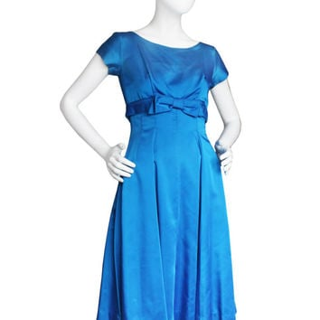 "Gorgeous Vintage 60s Royal Blue Silk Formal Dress | Women's Small, 27"" Waist 