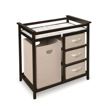 Baby Changing Table with 3 Baskets & Hamper in Espresso