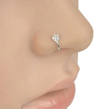 Small Thin 5 Rhinestones Flower Nose Hoop Stud Ring Body Piercing Jewelry