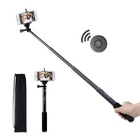 Bluetooth Selfie Stick, Benuo [Self Portrait Helper] [New Release] Premium Extendable Selfie Pole Monopod with Wireless Bluetooth Remote Shutter for iPhone 6 / 6 Plus 5S, Samsung, Camera and Other IOS & Android Phones (Black)