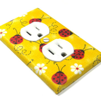 Yellow Lady Bug Daisy Flower Outlet Cover Electrical Outlet LAST ONE 1299