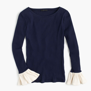 Ribbed bell-sleeve top