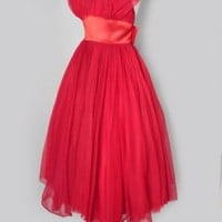 1950's Red Chiffon Marilyn Style Halter Dress- S red vintage cocktail evening dresses :