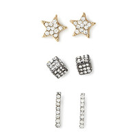 Rhinestoned Star Earring Set