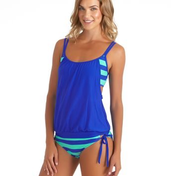 Lined Up Tankini Top And Tunnel Side Bikini Bottom