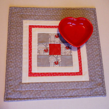 Modern Quilted Table Topper Table Runner Grey with Red Birds