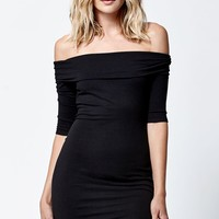 LA Hearts Off-The-Shoulder Bodycon Dress - Womens Dress - Black