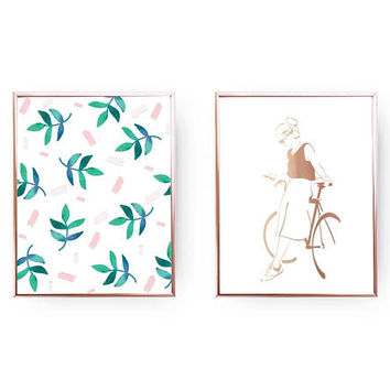 Set Of 2 Prints, Leaves Print, Woman Bike Print, Gold Foil Print, Botanical Art, Home Decor, Fashion Print, Dorm Decor, Green Wall Art