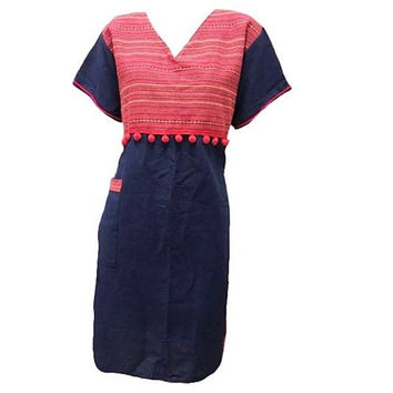 "V neck Tunic dress pom pom size M/L bust 42"" Red dark blue sack dress/ Hill tribe clothes/ Tribal shirt Blouse Navy blue red native tunic"