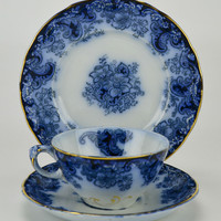Flow Blue Teacup Saucer and Plate by Alfred Meakin Antique English 1890s