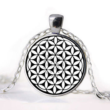 Flower of Life Seed of Life Pendant Necklace Mandala Hexagon Sacred Geometry Jewelry Fleur De Vie Glass Cabochon Necklace