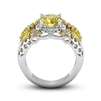 Honey Bee Crystal  Wedding Ring, Nature Ring, Unique Vintage Ring