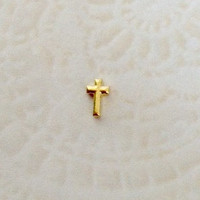 Floating charms for living lockets  Gold Cross
