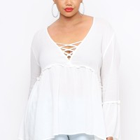 Plus Size Bell Sleeve Peasant Blouse - White