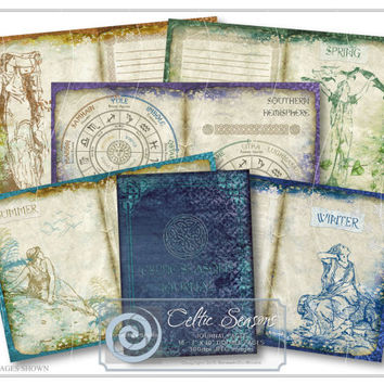 Celtic Seasons Journal Pages, DIY Printable Journal, Art Journal, Paper Craft, Craft Supplies, Scrapbooking Kit, Printable Stationery