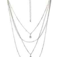 Rhinestone Layered Chain Necklace