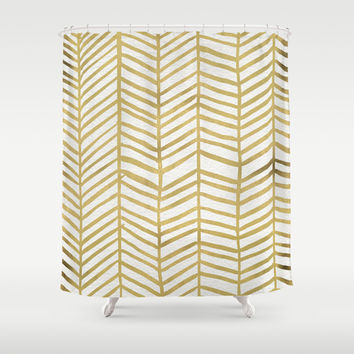 Gold Herringbone Shower Curtain by Cat Coquillette