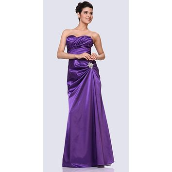 Purple Satin Prom Dress Pleated Bodice Strapless Sweetheart Neck