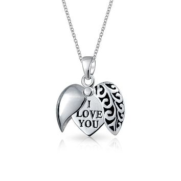 I Love You WORD Heart Locket Pendant Necklace Etched Sterling Silver