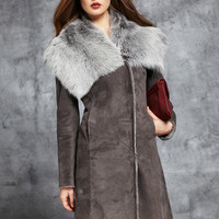 ideeli | BADGLEY MISCHKA Shearling Coat with Fur Collar