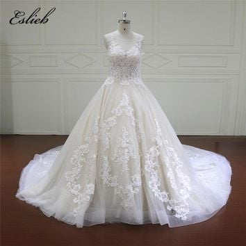 Eslieb Ball gown wedding dresses long Wedding Dress 2018 wedding gowns with train White/Ivory plus size vestido de noiva curto
