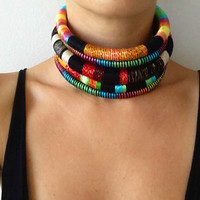 Reine Choker Tribal Necklace Tribal Statement Necklace Rope Choker African Necklace Aztec Necklace Tribal Necklace for Her African Jewelry