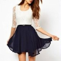 Abody Sexy Fashion Women Ladies Chiffon Dress Lace Top Mini Dress Skater Cute Casual