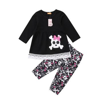 Children Clothing Baby Girl Long Sleeve Lace Mini Dress+Skull Pants Set