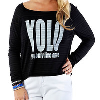 Plus-Size YOLO Tee - Rainbow
