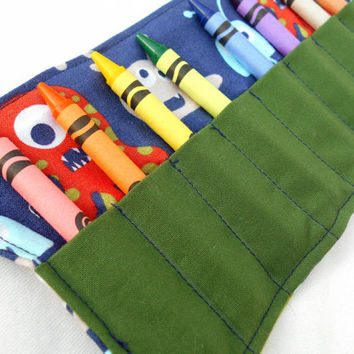 Little Monsters Crayon Roll Up - Blue Monster, boys toy, crayon rollup, coloring, monsters