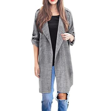 FEITONG Winter Coat Women Open Front Trench Long Cloak Jackets Overcoat Waterfall Mujer Casaco Feminino Inverno Bayan Kaban#3