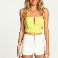 LIME SLIT CUT OUT CROP TOP