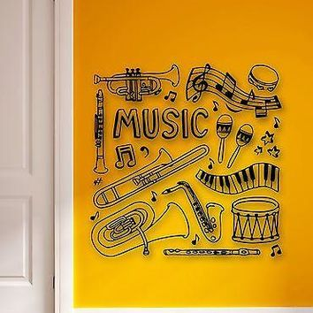 Wall Stickers Vinyl Decal Music Musical Instruments Drums Flute Trumpet Unique Gift (ig880)