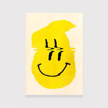 Smiley Wood Print, Colorful Smiley Wood Art, Funny Print Ready To Hang Wooden Wall Art