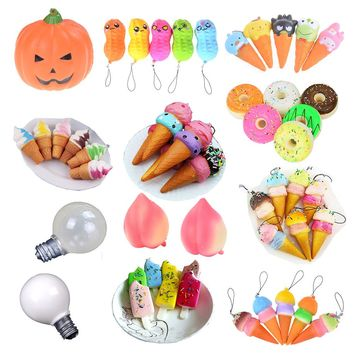 1Pcs Kawaii Soft Jumbo Squishy Ice Cream Slow Rising Fun Poo Squishes Lovely Phone Straps Gift Toys For Children Boys and Girls