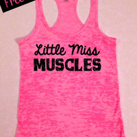 Fitness Workout Tank...Little Miss Muscles...Burnout Racerback Tank Top...Little Miss Workout Collection.