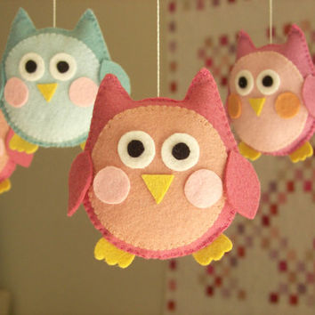 """Baby crib mobile, owl mobile """"Cute owl - Pink"""""""