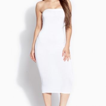White Strapless Midi Body Con Dress @ Cicihot sexy dresses,sexy dress,prom dress,summer dress,spring dress,prom gowns,teens dresses,sexy party wear,ball dresses