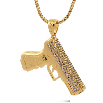 18K Gold 9mm Handgun Necklace