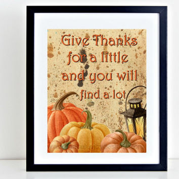 "Fall Printable, ""Give Thanks"" Wall Print, Thanksgiving Print, Thanksgiving Art, Fall Printable, Quote Print, Quote Art, Holiday Printable"