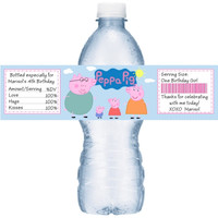 Peppa Pig Birthday Water Labels