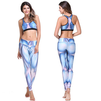Blue Muscle Print Racer-back Crop Top and Pants Set